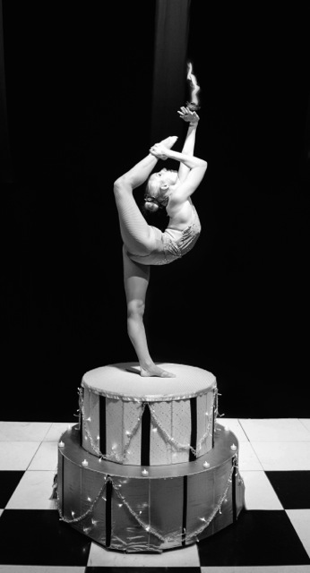 Contortionist performer on circus platform