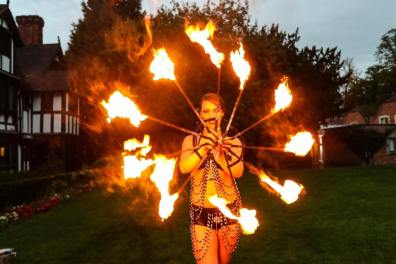 Fire dancer and circus skills performer