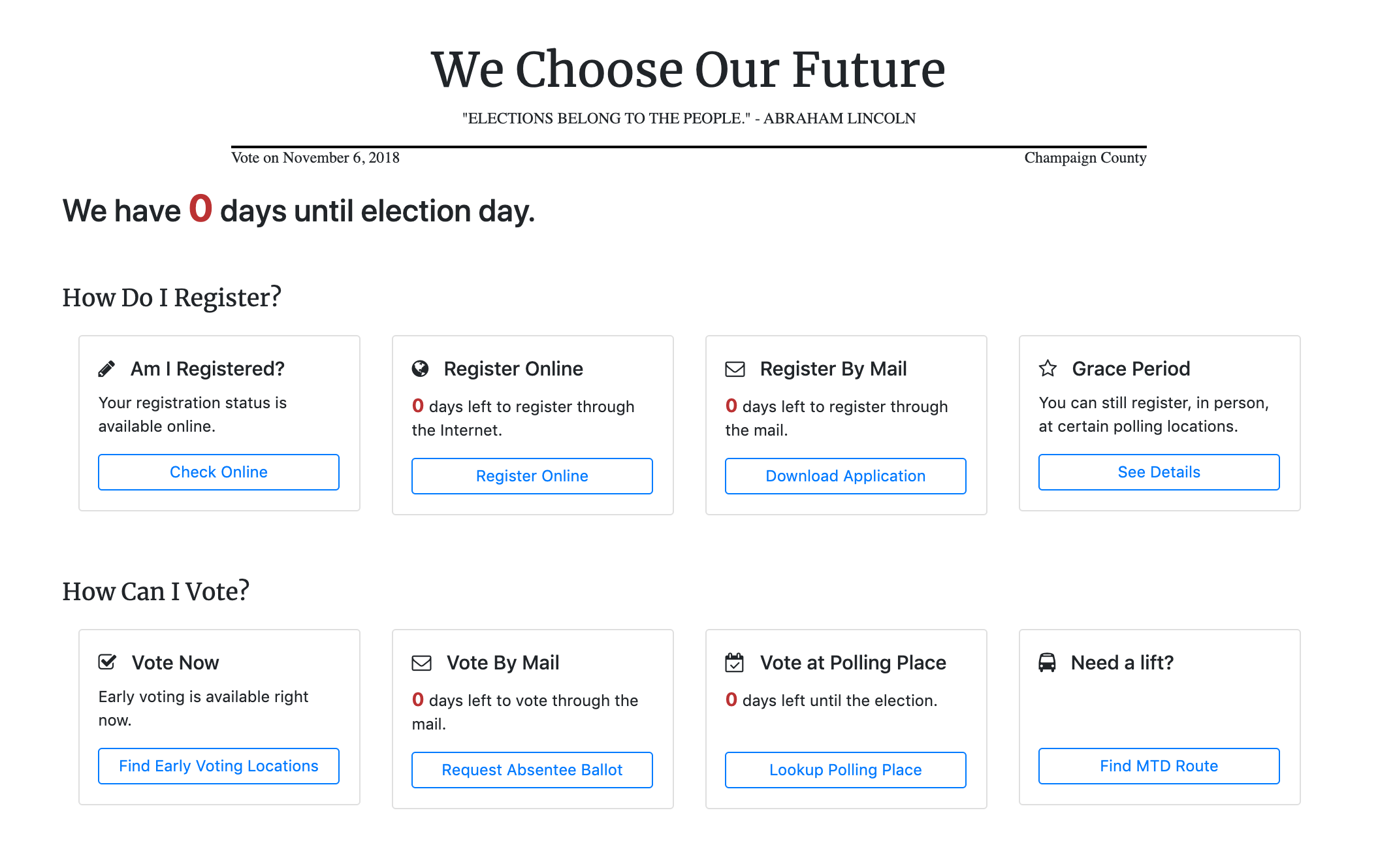 home page for we choose our future