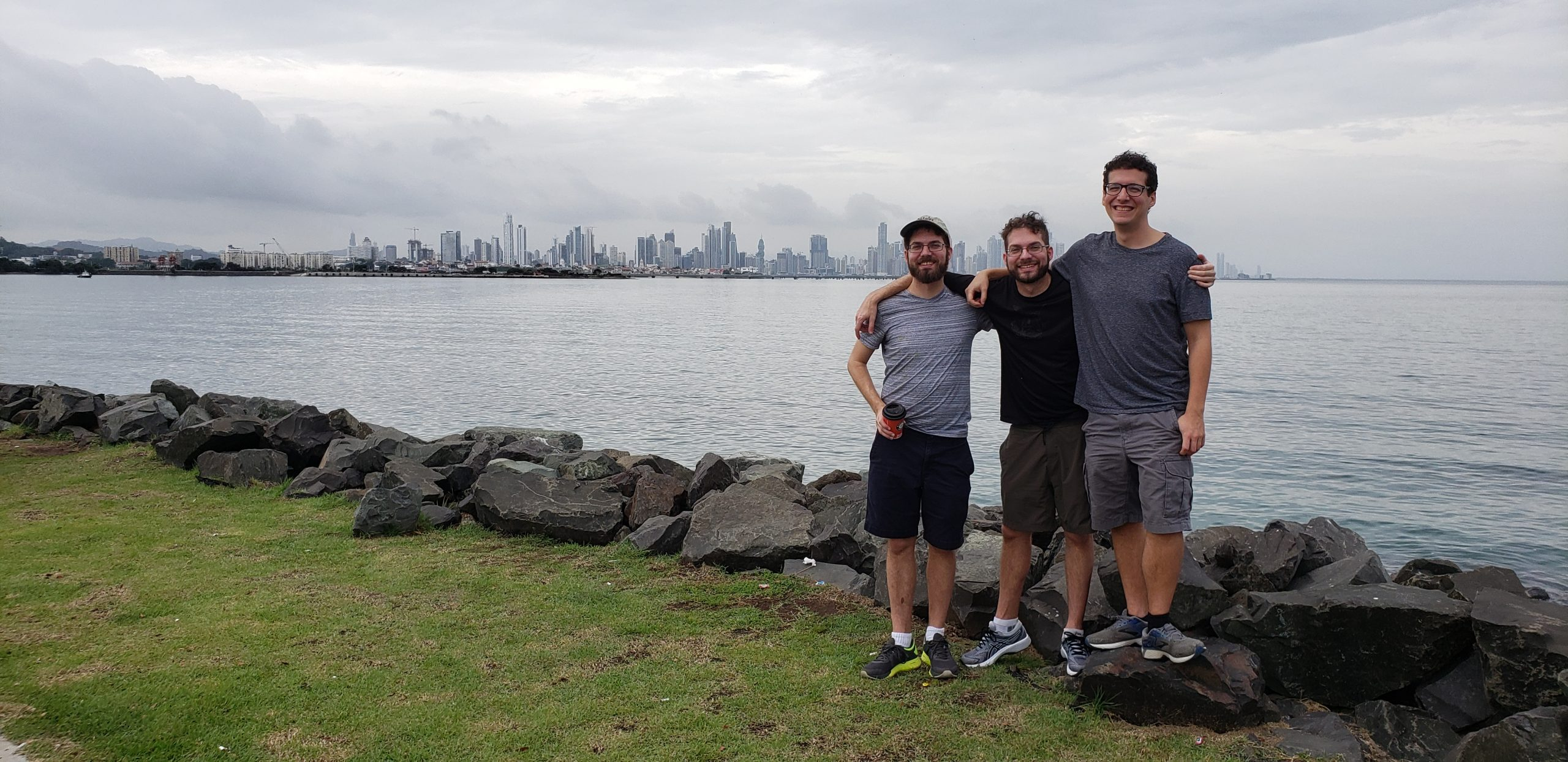 Sweedler brothers in front of the Panama City skyline