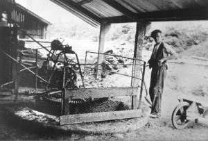Jack Telford blundging clay