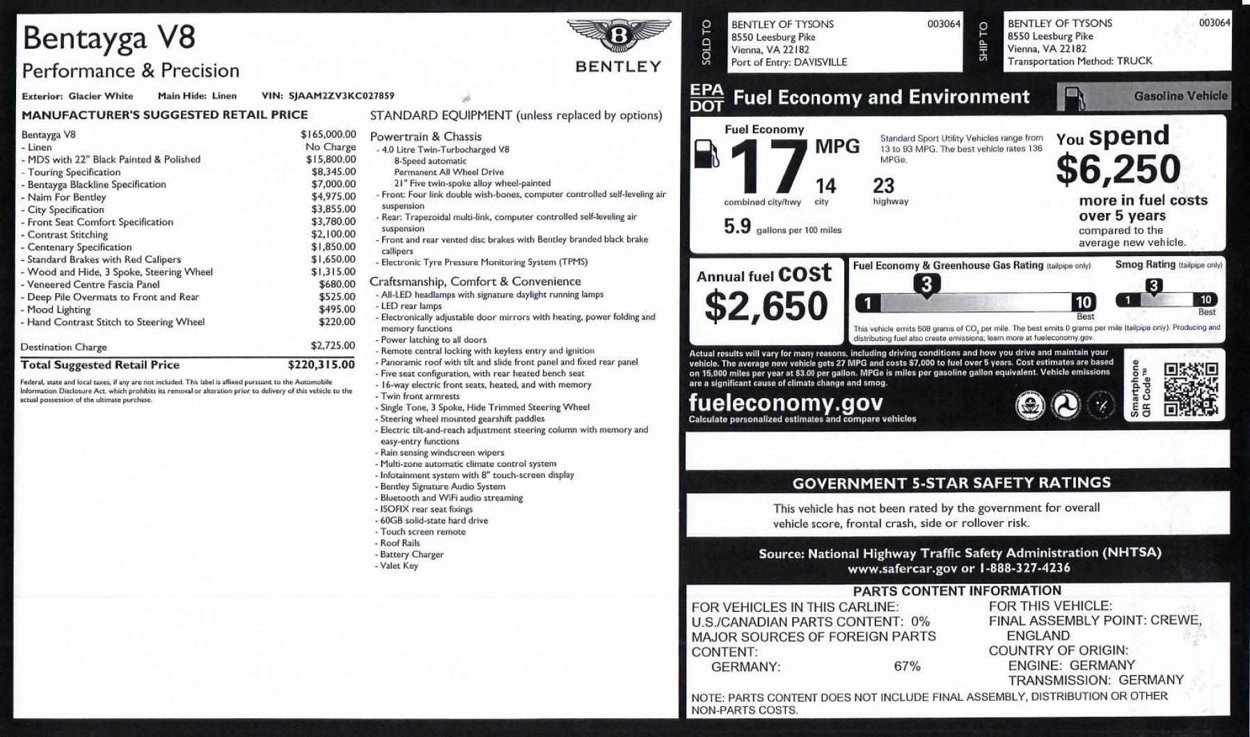 Bentley Bentayga V8 Stock 9n For Sale Near