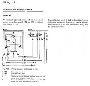 Wiring diagram sunroofsliding roof for MY 1986  Mercedes