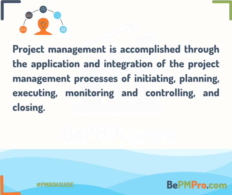project management is accomoplished through the application and knowledge