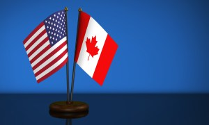 USA Flag And Canadian Desk Flags