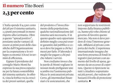 Tito Boeri, su Internazionale  979 (14/20 dicembre 2012)