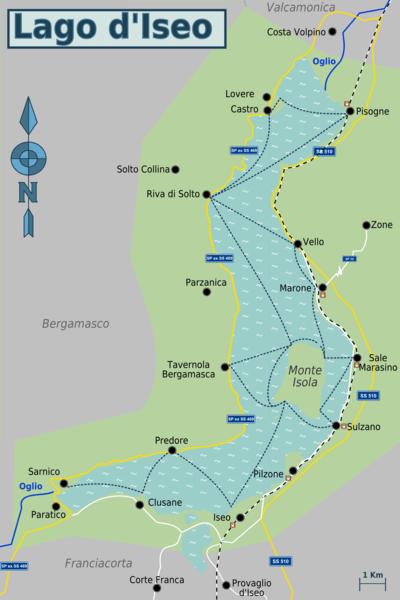 Cartina Lombardia Laghi.Mappa Lago D Iseo Scaricabile Bergamocity