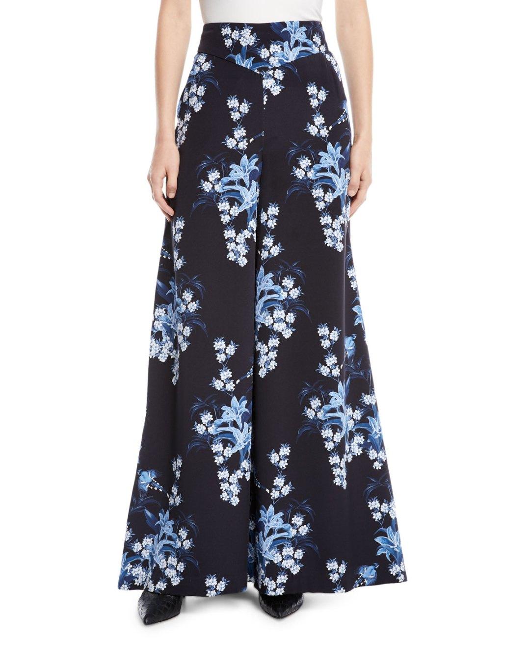 92605636a81 JOHANNA ORTIZ – Dream State High-Waist Flared Wide-Leg Floral-Print Silk  Pants – Bergdorf Goodman (Neiman Marcus) –  1