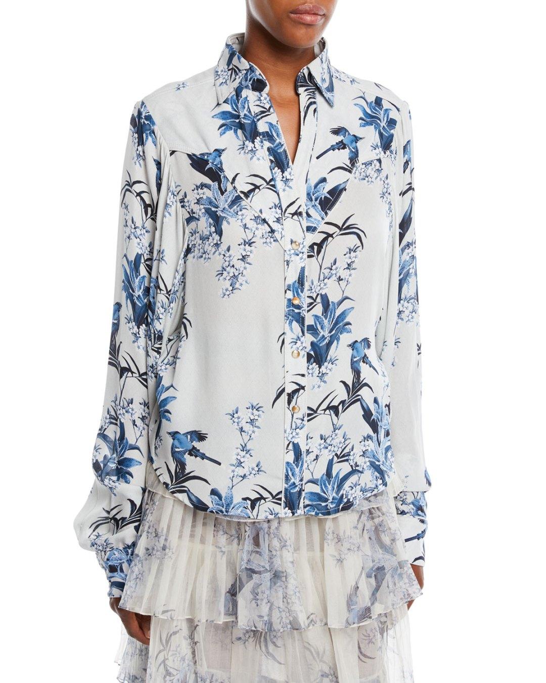 07d515045f2ab JOHANNA ORTIZ – Azalea Blue Button-Front Long-Sleeve Blue-Jay Garden-Print Silk  Shirt – Bergdorf Goodman (Neiman Marcus) –  1