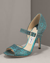 X06D2 Jimmy Choo Lizard Mary Jane Pump