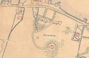 Lyststedet Stranden på utsnitt av udatert havnekart over Puddefjorden, 1883. Arkivet etter Havnestyret.