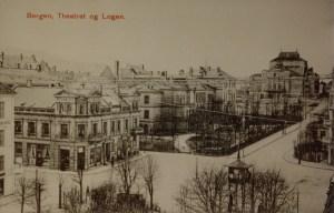 Logegaten med Logen og Logehagen. Gammelt udatert postkort. Arkivet etter arkitekt Einar Oscar Schou, Bergen Byarkiv.