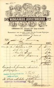Wingaards jernstøperi ble grunnlagt i 1850 av kjøpmannen Oluf P. Wingaard. Han var en av pionérene i bergensindustriens tidlige fase. Regnskapsbilag fra Årstad herredskasse, Bergen Byarkiv.