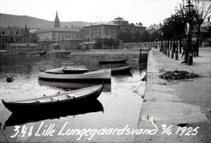 Steinkaiene langs Lille Lungegårdsvann ble bygd i 1899. Foto fra 1925. Fotograf: Ukjent. Arkivet etter Havneingeniøren, Bergen Byarkiv.