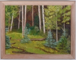"<h5>""Untitled [Forest Scape]"" by P. Hugh (N/D)</h5><p>Approx. 9""x14""; Oil on canvas BMAS 1011</p>"