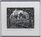"<h5>""Skyline From West NY, NJ"" by Peter Fiordalisi (1962)</h5><p>Approx. 10""12""; Relief print on paper BMAS 1081</p>"