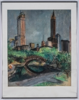 "<h5>""NY Skyline from Central Park"" by Unknown (N/D)</h5><p>Approx. 20""x25""; Pastel on paper BMAS 1141</p>"