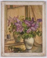 "<h5>""Untitled [Two Vases with Purple Flowers]"" by Unknown (N/D)</h5><p>Approx. 22""x28""; Oil on canvas BMAS 1131</p>"