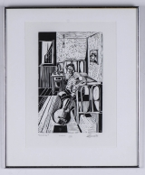 "<h5>""Evocation"" by Roberto Jose Scadutto (N/D)</h5><p>Approx. 9""x15""; Linocut on paper BMAS 1088</p>"