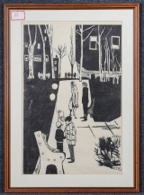 "<h5>""Park Scene - Urban"" by Unknown (N/D)</h5><p>Approx. 25""x37""; Relief print on paper BMAS 1117</p>"