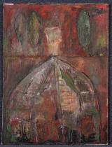 """<h5>""""Tierra Traicionada"""" by Jose Camacho (N/D)</h5><p>Approx. 34""""x51""""; Oil on canvas BMAS 1158</p>"""