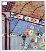 "<h5>""Flowers on a Trellis"" by Unknown (N/D)</h5><p>Approx. 32""x36""; stained glass BMAS 1193</p>"