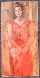 "<h5>""Untitled [Woman in Orange Dress]"" by Unknown (N/D)</h5><p>Approx. 24""x48""; Oil on canvas BMAS 1157</p>"