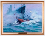 "<h5>""Lightship Nantucket Sunk by R.M.S. Olympic"" by Charles Mazoujian (N/D)</h5><p>Approx. 24""x36""; Oil on canvas BMAS N/N</p>"