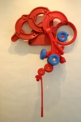"""<h5>Red Form</h5><p>40""""x31""""x11""""  Collected plastic and hardware</p>"""