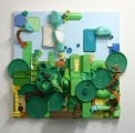 <h5>Garden Scape</h5><p>5'x5' Mixed materials and hardware on wood panel and acrylic paint</p>