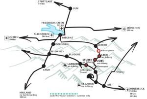 Lage in Europa   Informationen zu Ihrer Anreise auf den Arlberg zu den Bergland Appartements