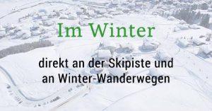 Lage der Bergland Appartements im winter - Direkt an der Skipiste und an Winterwanderwegen in Lech am Arlberg