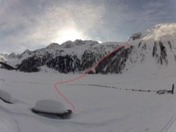 Unsere Aufstiegsroute nach dem Eishof