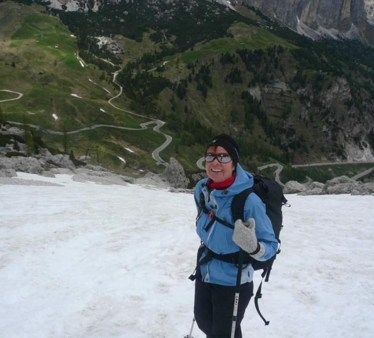 Skitour mit Blick zur Grödner Joch-Straße