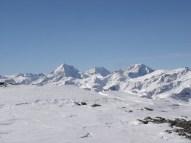Blick vom Gipfel zum Ortler Dreigestirn