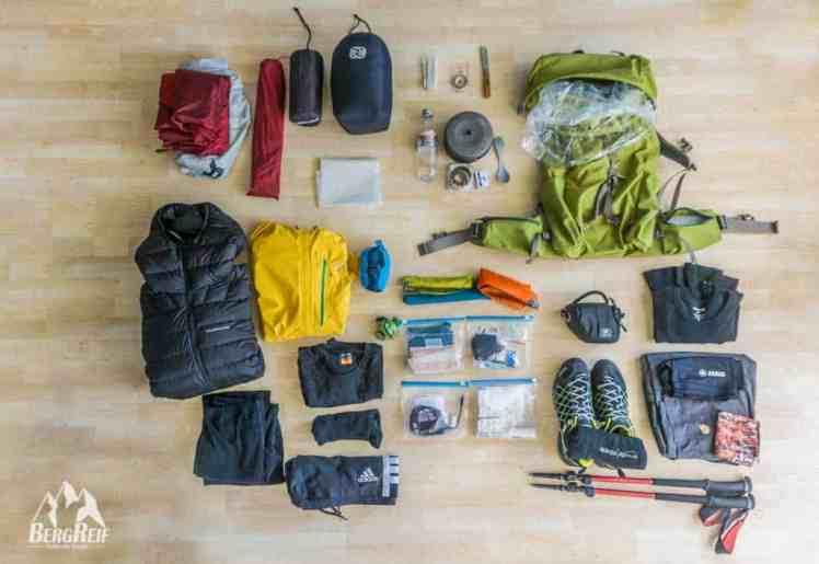Ultraleichte Trekking Packliste