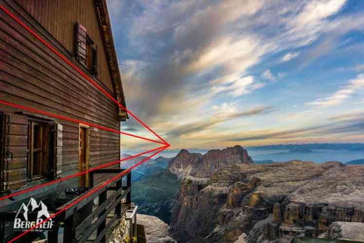 Bergfotos führende Linien