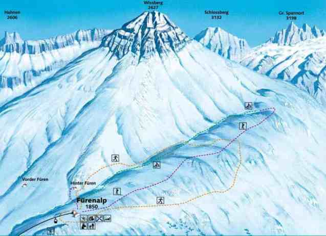 Schneeschuhtour Schneewandern Fürenalp Karte