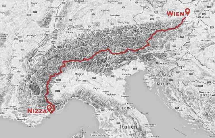 Alpenüberquerung zu Fuß Wien Nizza Alpendurchquerung Karte
