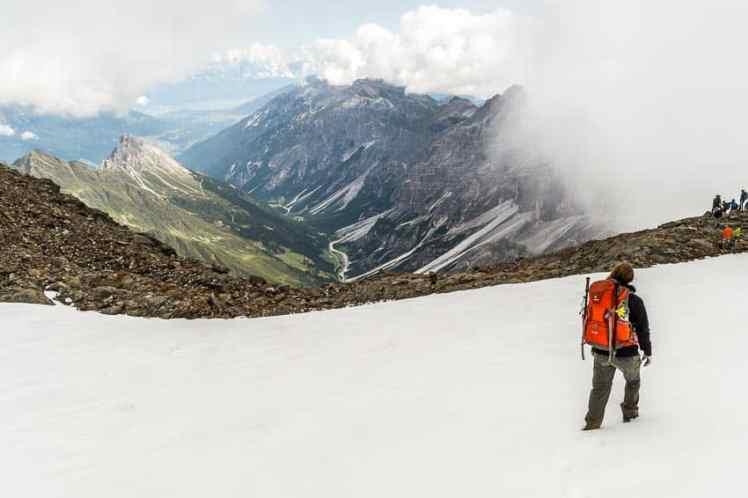 Alpenüberquerung Schnee Altschnee Schneefelder