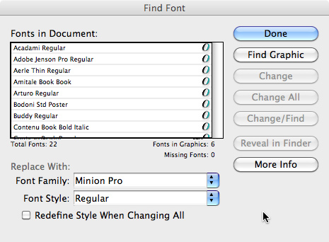 The Find Font dialog box