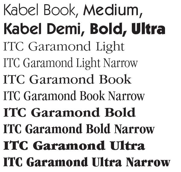 Font families, font widths, italics, and obliques — David Bergsland