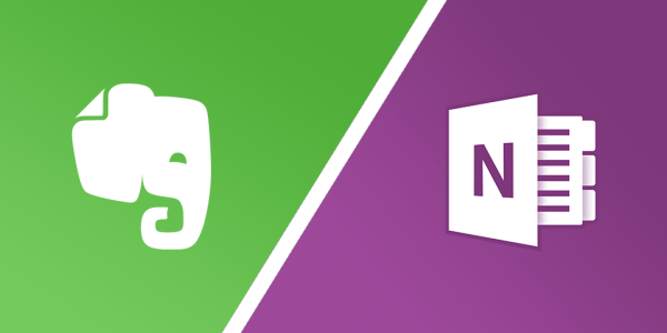 Evernote and OneNote logos