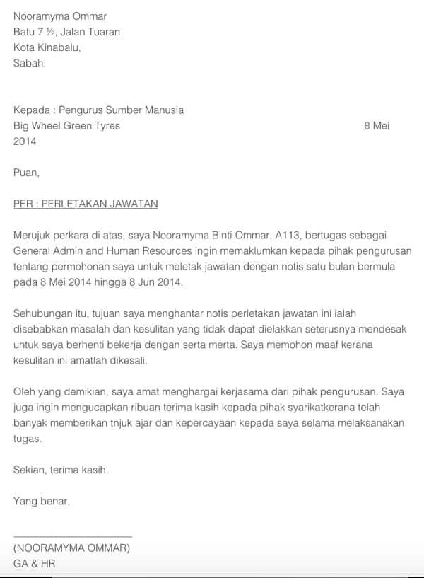 Surat Contoh Perletakan Jawatan