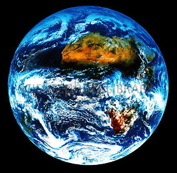 Photo f Earth from space showing equatorial cloud belt.
