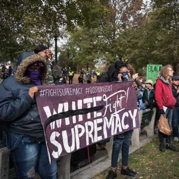 Students march against fascism in counter protest