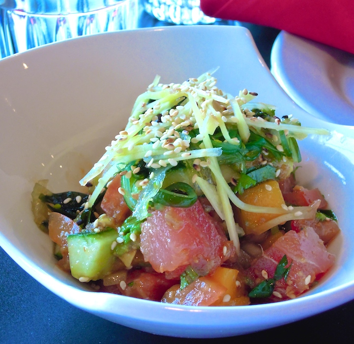 Tuna and Salmon Poke: ginger, avocado, mango, cucumber and tomato salsa. Photo: Anna Mindess