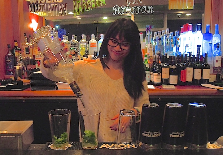Vi Nguyen mixes drinks and more at Vanessa's Bistro. Photo: Anna Mindess