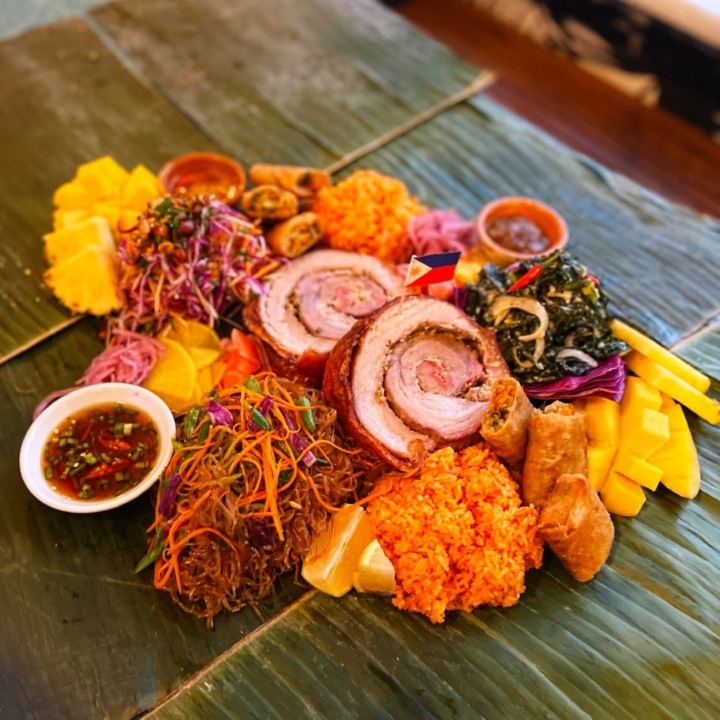 FOB Kitchen's Holiday Kamayan feast includes all this food and banana leaves and set up instructions. Photo: FOB Kitchen.