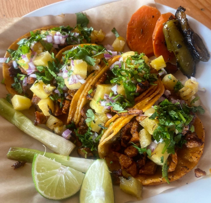A plate of tacos al pastor from La Huerta, a Monday and Tuesday pop-up at Speisekammer.